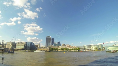 Photo  Timelapse view of London city with river Thames and skyscrapers