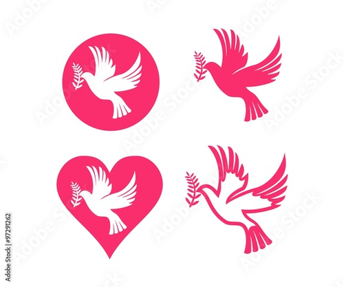Dove Symbol Peace Love Unity Respect Set Buy This Stock Vector And