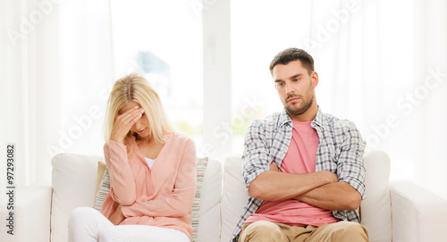 Fotografie, Obraz  unhappy couple having argument at home