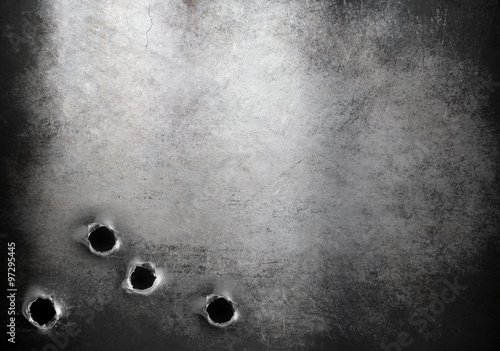 Canvas-taulu grunge metal armor background with bullet holes
