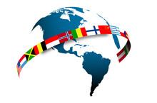 Mondo, Bandiere, America,  Ovest, Lingue