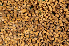 Stack Of Chopped Firewood Prepared For Winter