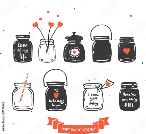 Hand Drawn Mason Jar Collection Love Quotes