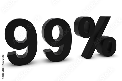 Photographie  99% - Ninety Nine Percent Black 3D Text Isolated on White