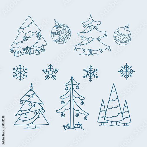 Christmas doodle elements. Vector collection #97315291
