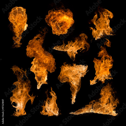 Door stickers Fire / Flame fire collection isolated on black