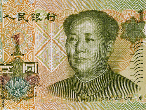 Fényképezés  Chinese one yuan banknote obverse, Mao Zedong, China money closeup