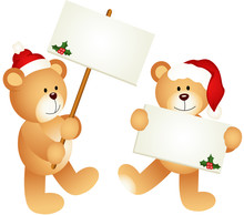 Christmas Teddy Bears With Signboards