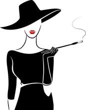 Girl Vintage Fashion Stencil Cigar