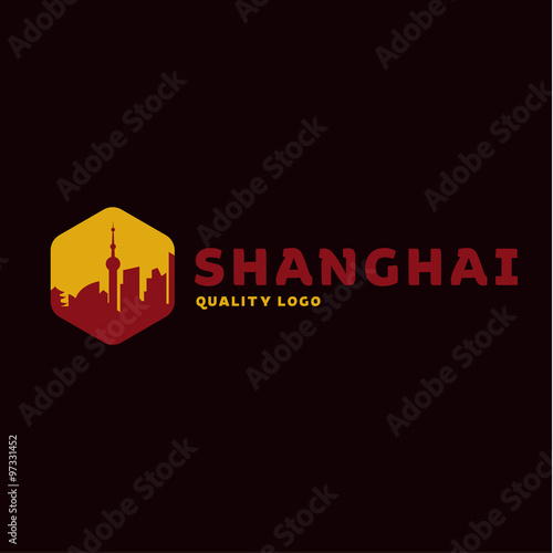 Photo  Shanghai city the shadow China building sunset red vector logo illustrations, st