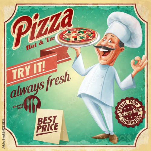 pizza chef vintage - 97331831