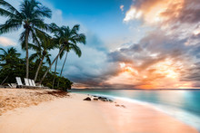 Exotic Long Exposure Seascape With Palm Trees At Sunset, On A Public Beach In Cayo Levantado, Dominican Republic