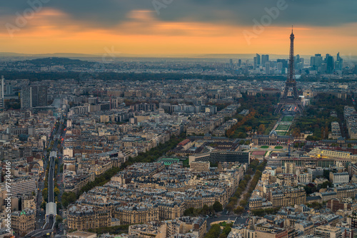 Poster de jardin Paris Eiffel tower Aerial view from Montparnasse view point during sunset time