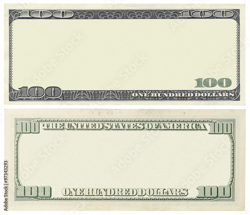 Tela  Blank 100 dollar banknote isolated on white