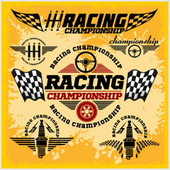 FototapetaCar racing emblems and championship race vector badges