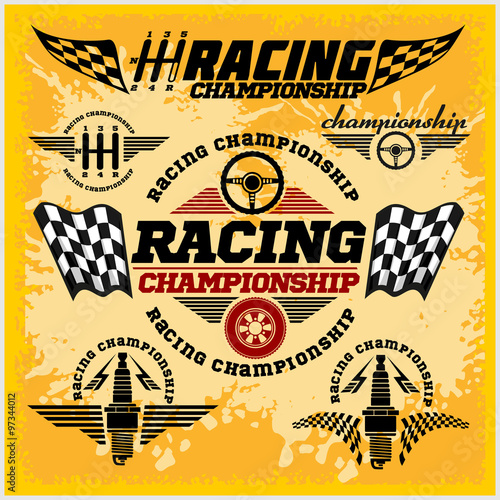 Car racing emblems and championship race vector badges - 97344012