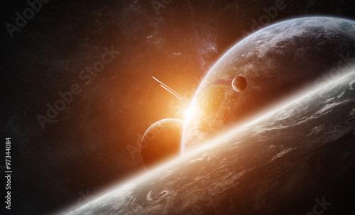 Obraz Wschód słońca nad planetą Ziemia w przestrzeni - fototapety do salonu