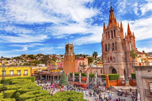 Fototapeta premium Jardin Parroquia Kościoły San Miguel de Allende
