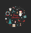 Vector card with christmas elements on a black background. Christmas illustration 2016 of a wreath, Santa Claus, mistletoe, snowflakes, gift.