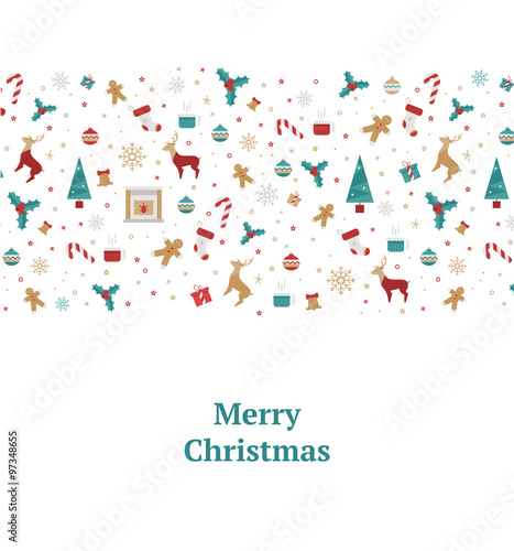 merry christmas decorations elements seamless pattern border vector illustration for new year 2106 with a