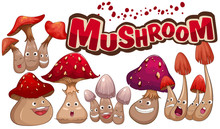 Fresh Mushroom With Facial Expressions