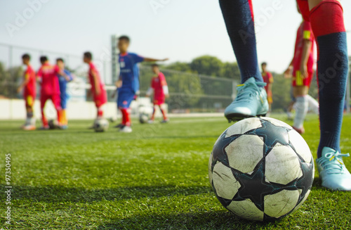 Photo  children playing soccer