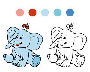 Obraz na płótnie Canvas Coloring book for children: elephant