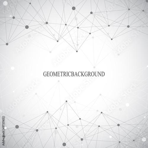 Fotografia  Geometric grey background molecule and communication