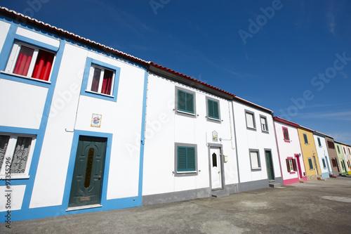 Poster Afrique du Sud Traditional azores multicolored street in Sao Miguel island. Por