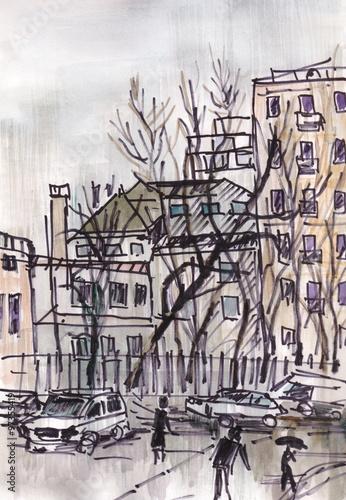 Cadres-photo bureau Illustration Paris Street of city