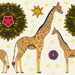 FototapetaBeautiful adult Giraffe. Hand drawn Illustration of ornamental giraffe.  isolated giraffe on white background. Seamless pattern from an ornamental giraffe