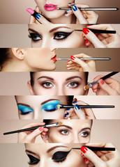 Panel Szklany Do salonu kosmetycznego Beauty collage. Faces of women. Fashion photo. Makeup artist applies lipstick and eye shadow