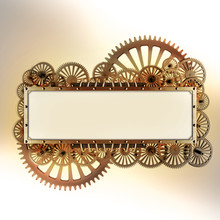 Stylized Golden Mechanical Steampunk Gear Collage. Made Of Metal Frame And Clockwork Details.