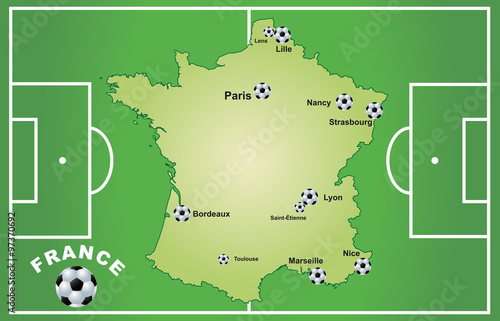 Photo  Frankreich mit Fußballstadien 2016