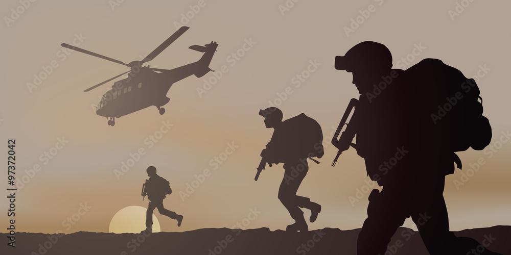 Fototapeta Commando Heliporte