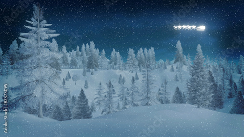 Printed kitchen splashbacks Light blue Dreamlike winter night in a snow-covered spruce forest and silhouette of Santa Claus on his sleigh in the sky. Decorative 3D illustration.