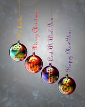 2016 Year On Baubles Hung On Inscriptions: Merry Christmas, Happy New Year And Ho Ho Ho.