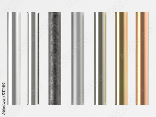 Fotografie, Obraz 3d rendered many shades of metal pipes