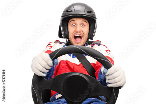 Fotografia Excited car racer driving very fast