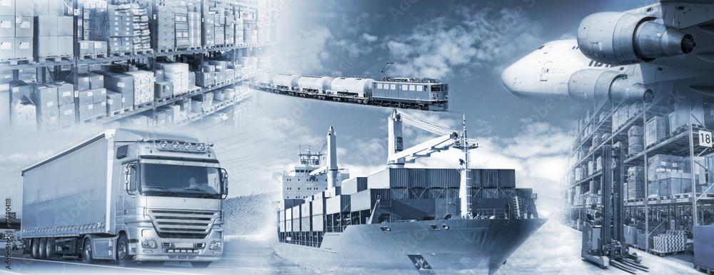 Fototapety, obrazy: Logistik mit Transport und Lagerung von Gütern