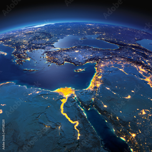 Fotografie, Tablou  Detailed Earth. Africa and Middle East on a moonlit night