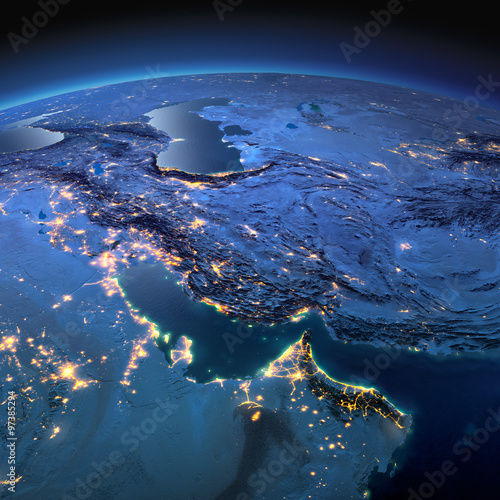 Photo  Detailed Earth. Persian Gulf on a moonlit night