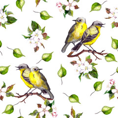 FototapetaSeamless background with couple of song birds with spring flowers