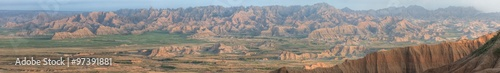 Misty Morning Panorama of the Pinnacles in Badlands National Park Wallpaper Mural