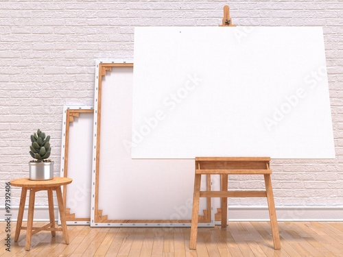 Fotografia Mock up canvas frame with plant, easel, floor and wall