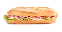 Sub With Ham And Lettuce Isolated On White Background