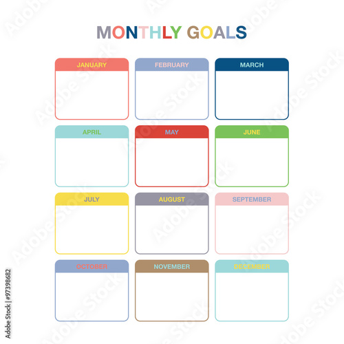 graphic about Monthly Goals Template named Month-to-month plans calendar template for calendar year 2016. Vibrant