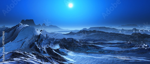 Recess Fitting Night blue 3D surreal landscape