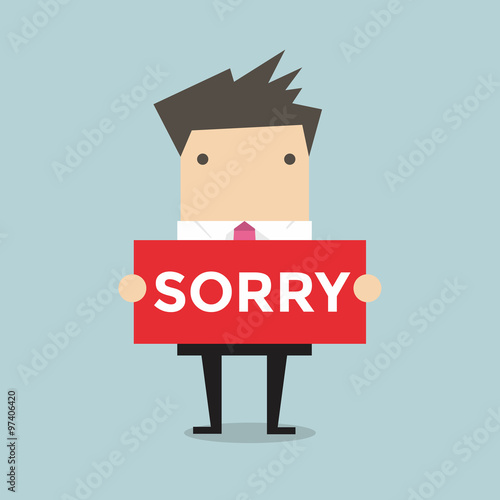 Photo Businessman hands holding sorry sign vector