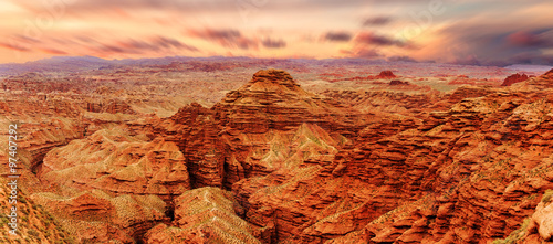 Foto op Canvas Baksteen sunrise skyline,landscape of red sandstone